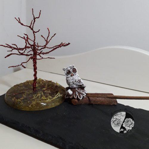 Queimador de Incenso com Coruja e Árvore da Vida