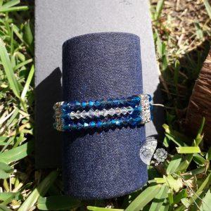 Pulseira em tons de azul com Cristais Swarovski