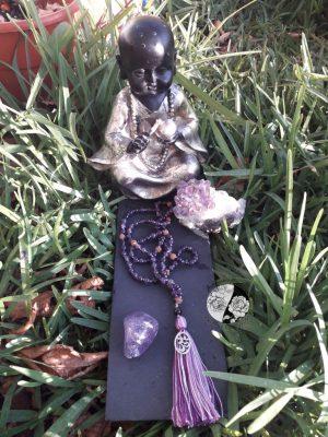 Japamala com Ametista e Sementes de Rudraksha